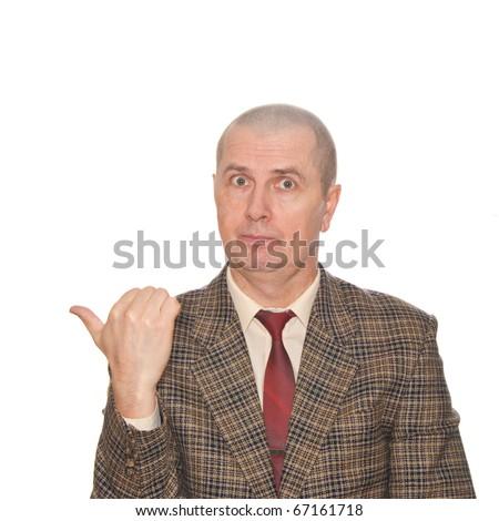 Body language. Pointing aside. Isolated on white. - stock photo