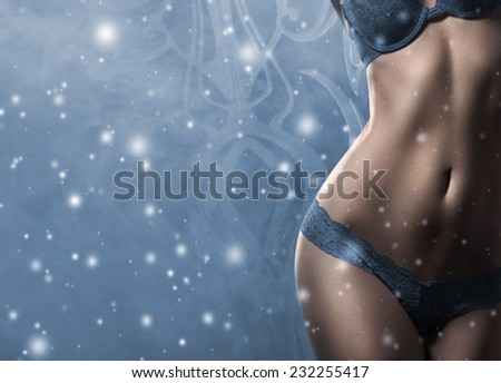 Body of young and beautiful woman in sexy lingerie over the snowy winter background - stock photo