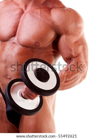 Bodybuilder exercising in front of white background - stock photo
