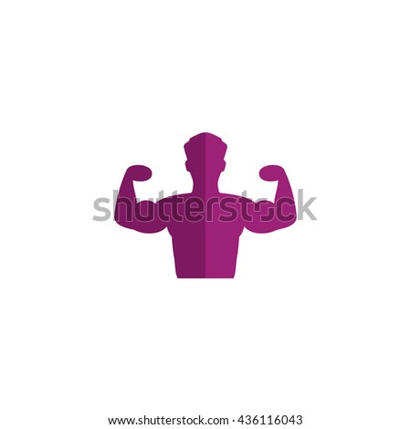 Bodybuilder Fitness Model. Color simple flat icon on white background - stock photo