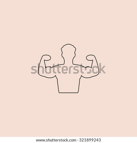 Bodybuilder Fitness Model. Outline icon. Simple flat pictogram on pink background - stock photo