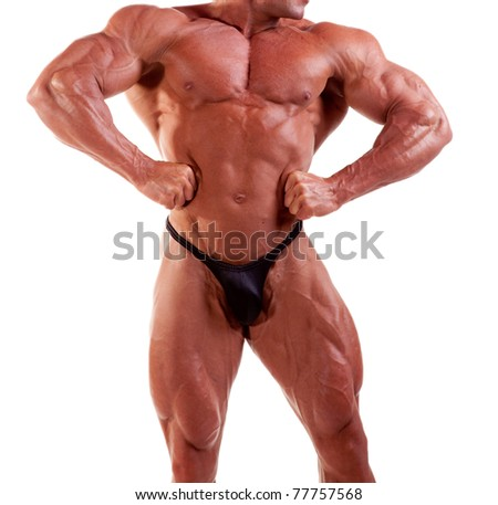 bodybuilder flexing his muscles isolated on white - stock photo