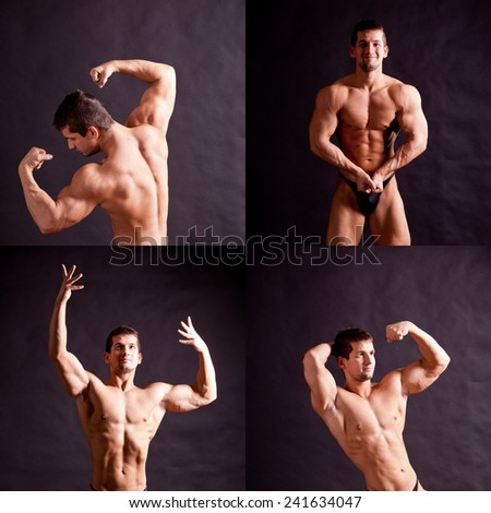 bodybuilder flexing his muscles over black background - stock photo