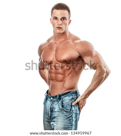 Bodybuilder isolated on white. Muscle man with perfect body - stock photo
