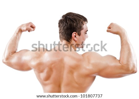 bodybuilder strong athletic muscle man, sport guy showing his male muscles, standing back isolated over white background - stock photo