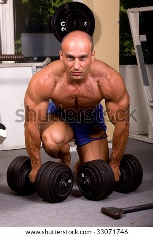 Bodybuilder training - stock photo