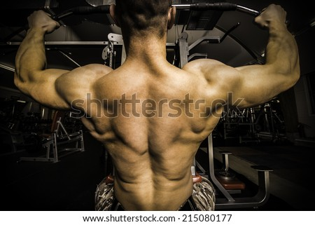 Bodybuilder With Big Back In the Gym close up wide image - stock photo