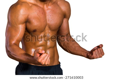 Bodybuilder workout white background. - stock photo