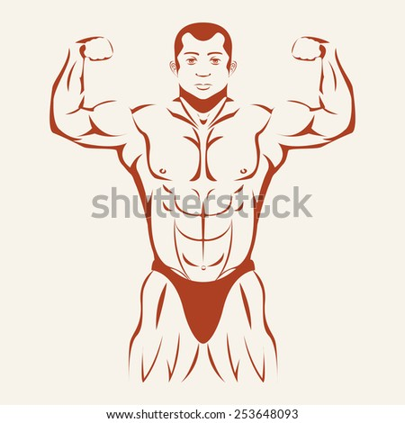 Bodybuilding and Powerlifting. Bodybuilder standing hands up, straining every muscle in the body - stock photo