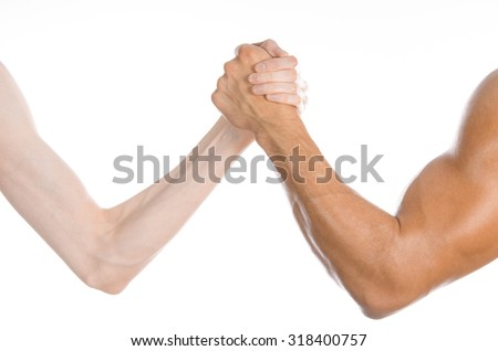 Bodybuilding & Fitness Topic: arm wrestling thin hand and a big strong arm isolated on white background in studio - stock photo