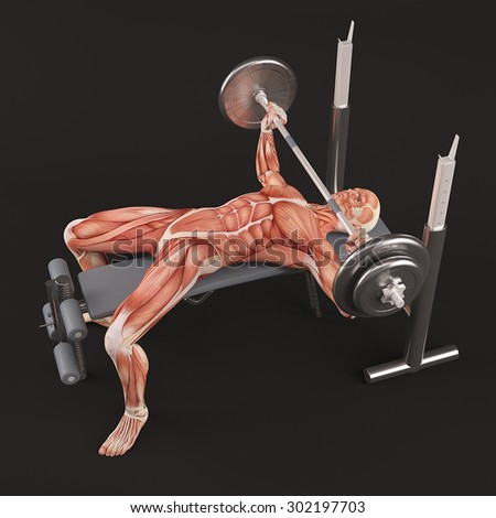 Bodybuilding gym exercising. Wide grip barbell bench press. Chest muscle group. Black background, half turn view - stock photo