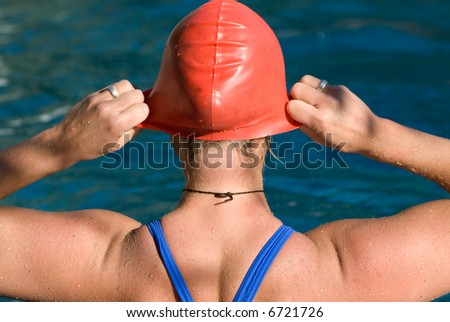 Bodypart from a athletic swimmer - stock photo