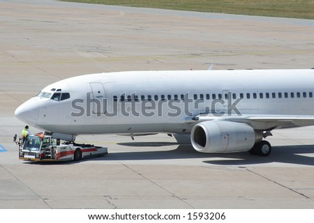 boeing before takeoff - stock photo