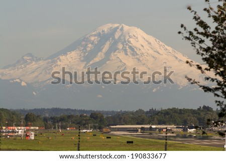 Boeing Field King County International Airport, Seattle, WA with Mt. Rainier in the Background - stock photo