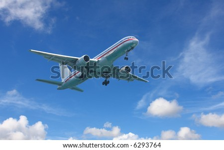 Boeing 767 taking off - stock photo