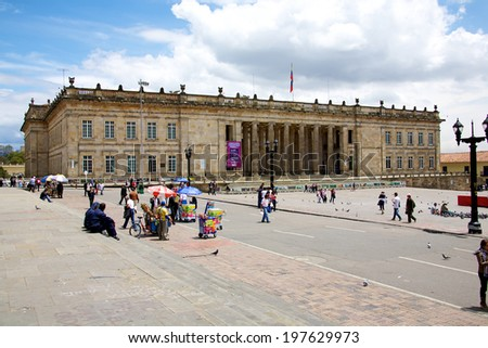 BOGOTA, COLOMBIA - MAY 06, 2014: The National Capitol situated in Plaza de Bolivar a historic square in the heart of Bogota. Building of the National Capitol started in 1846 and was finished in 1926 - stock photo