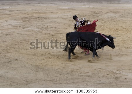 BOGOTA - JANUARY 18:An unidentified Colombian bullfighter performs in the Plaza de Toros on January 18, 2009 in Bogota,Colombia.The popular bullfighting competition is held annually in Plaza de Toros. - stock photo