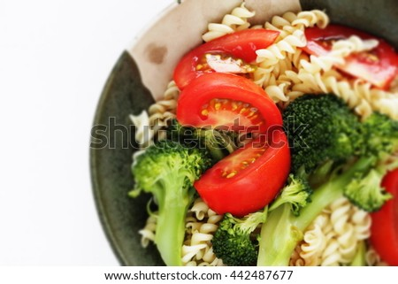 Boiled broccoli and pasta salad with Chinese black vinegar dressing in Japanese style - stock photo