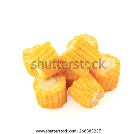Boiled corn isolated on white background.This has clipping path.   - stock photo