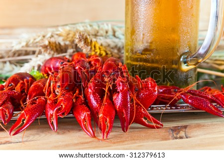 boiled crayfish with cold  beer on wooden table - stock photo