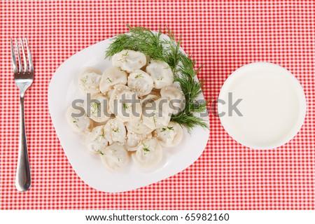 boiled dumplings - stock photo