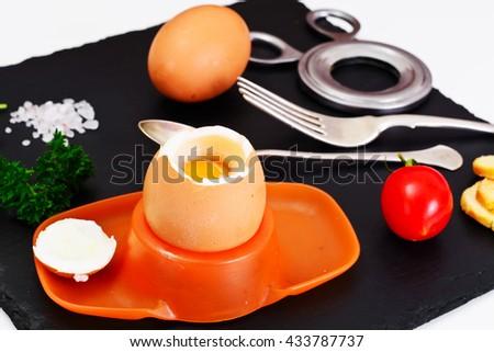 Boiled Egg Cooked Studio Photo - stock photo
