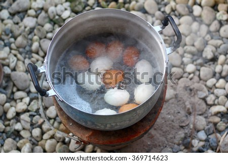 Boiled eggs from the oven - stock photo