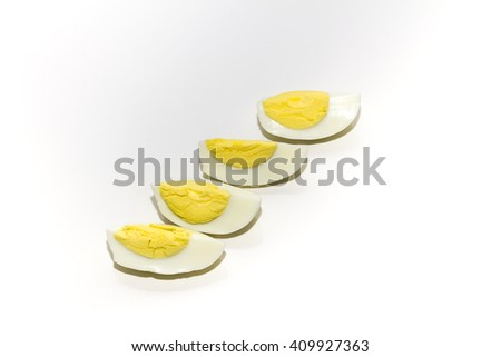 Boiled eggs on a white background - stock photo