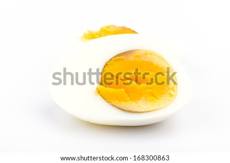 Boiled eggs on white background - stock photo