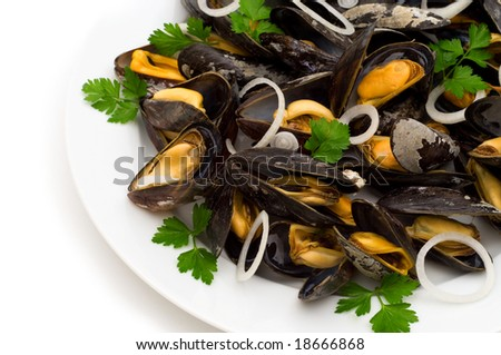 boiled mussels on white background - stock photo
