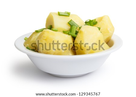 boiled potato with onion in bowl, isolated on white - stock photo