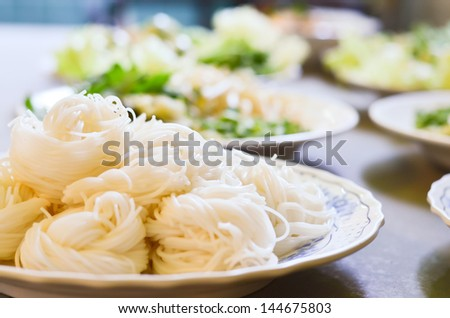 boiled Thai rice vermicelli, usually eaten with curries - stock photo