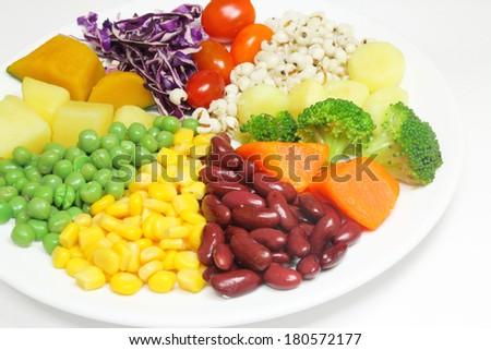Boiled vegetable and boiled grains salad  - stock photo