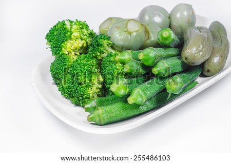 boiled vegetables ready for shrimp-paste sauce - stock photo