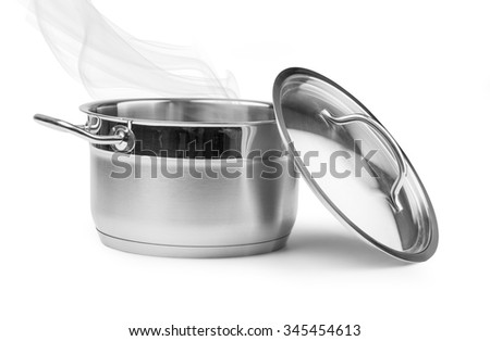 Boiling water in a saucepan over white background with clipping path - stock photo