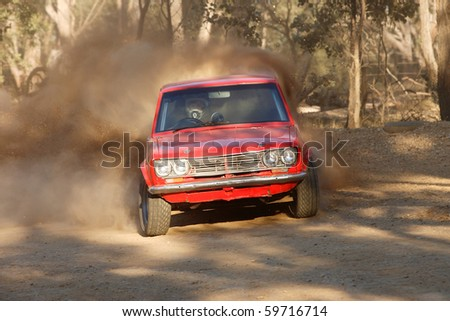 BOISDALE, VIC., AUS. - AUGUST 22: An Unknown competitor competes in the MADCC Hillclimb round 6, August 22, 2010, Boisdale, Vic, Australia - stock photo