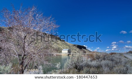 Boise Idaho Diversion dam with clouds sky - stock photo