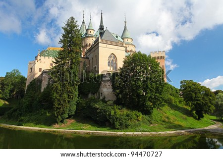 Bojnice castle with reflection - Slovakia - stock photo