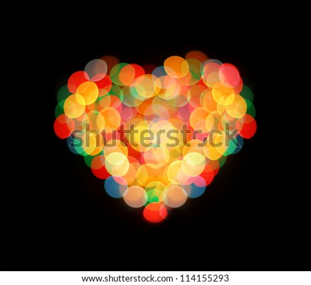 Boke love heart abstract defocused red yellow green blue black background - stock photo