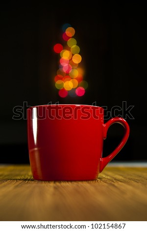 Bokeh and a glass of red. - stock photo