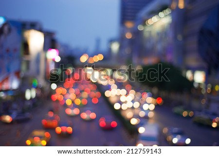 Bokeh from car light on the traffic road - stock photo