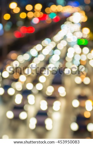 Bokeh, lens blur, soft focus light cars jam on the road in Bangkok Thailand. - stock photo