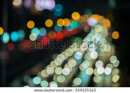 bokeh light of driving car - stock photo