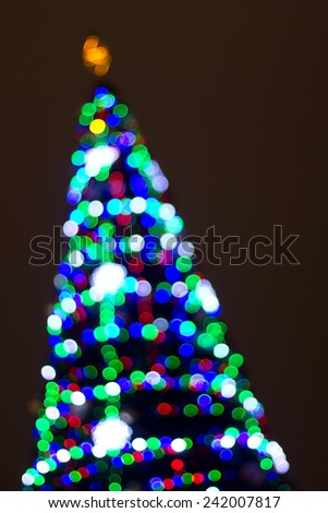 Bokeh lights of New Year's tree - stock photo