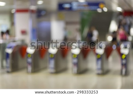 Bokeh of activity people transportation on train station in city - stock photo