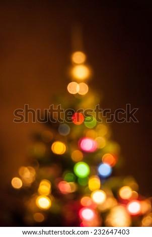 bokeh of christmas tree decoration - stock photo