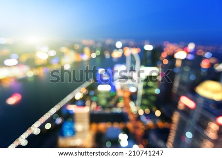 bokeh of skyline at sunset time, Shanghai, China - stock photo