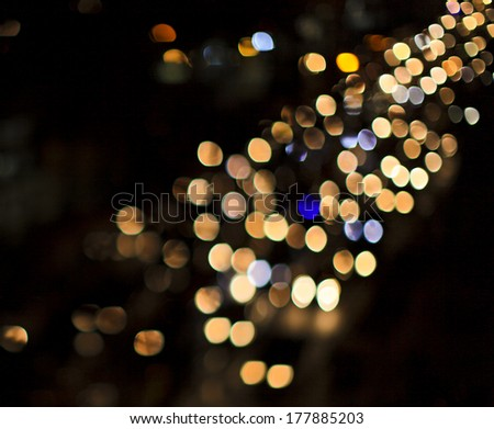 boken light of driving car - stock photo