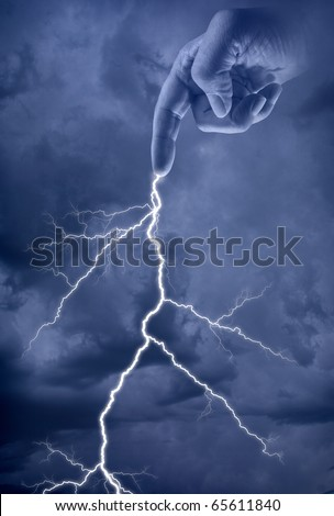 Bold of Lightening from the hand of God - stock photo