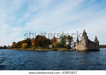 Boldt Castle in Thousand Islands, New York Boldt Castle and Power House on Heart Island in Thousand Islands area, New York State - stock photo